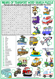 Means of Transport ESL Word Search Puzzle Worksheet