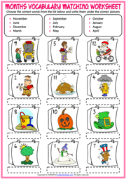 Months ESL Vocabulary Matching Exercise Worksheet For Kids