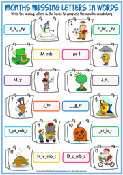 Months ESL Missing Letters In Words Exercise Worksheet