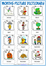 Months ESL Printable Picture Dictionary Worksheet For Kids