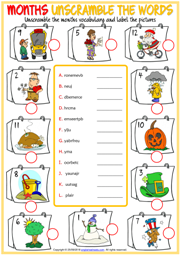 Months ESL Printable Unscramble the Words Worksheets