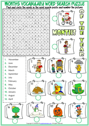 Months ESL Printable Word Search Puzzle Worksheet For Kids