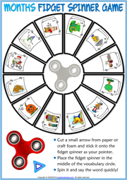 Months ESL Printable Fidget Spinner Game For Kids