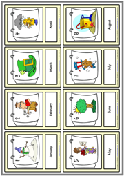 Months ESL Printable Vocabulary Learning Cards For Kids
