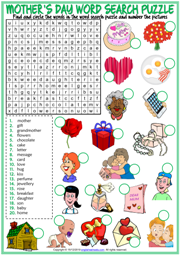 Mother's Day ESL Word Search Puzzle Worksheet