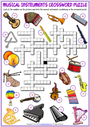 Musical Instruments ESL Crossword Puzzle Worksheet for Kids