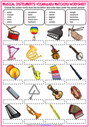 Musical Instruments ESL Matching Exercise Worksheet For Kids