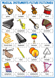 Musical Instruments ESL Picture Dictionary Worksheet For Kids