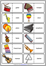 Musical Instruments ESL Printable Dominoes Game For Kids