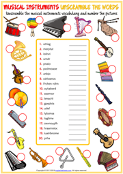 Musical Instruments ESL Unscramble the Words Worksheet