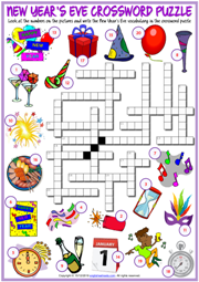 New Year's Eve ESL Crossword Puzzle Worksheet for Kids