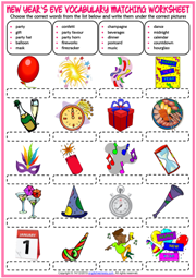 New Year's Eve ESL Matching Exercise Worksheet For Kids