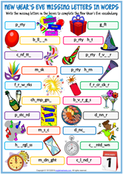 New Year's Eve ESL Missing Letters In Words Worksheet