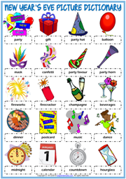 New Year's Eve ESL Picture Dictionary Worksheet For Kids
