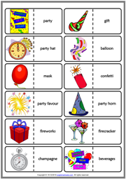New Year's Eve ESL Printable Dominoes Game For Kids