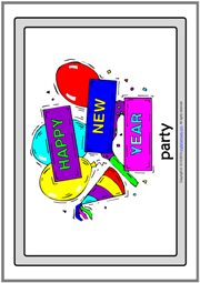 New Year's Eve ESL Printable Flashcards With Words