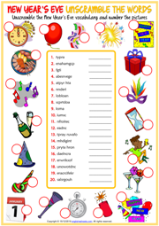 New Year's Eve ESL Unscramble the Words Worksheet