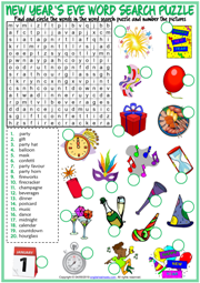 New Year's Eve ESL Word Search Puzzle Worksheet