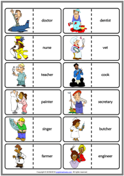 Jobs ESL Printable Dominoes Game For Kids