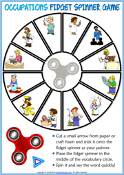 Jobs ESL Printable Fidget Spinner Game For Kids