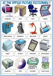 Office Objects ESL Printable Picture Dictionary For Kids