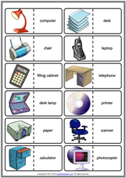 Office Objects ESL Printable Dominoes Game For Kids