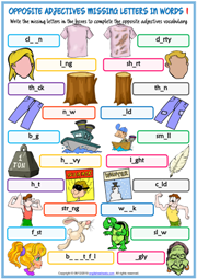 Opposite Adjectives ESL Missing Letters In Words Worksheets