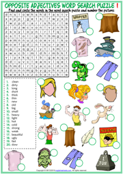 Opposite Adjectives ESL Word Search Puzzle Worksheets For Kids