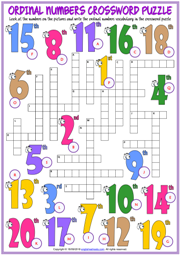 Ordinal Numbers ESL Printable Worksheets and Exercises