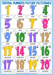 Ordinal Numbers ESL Printable Picture Dictionary For Kids
