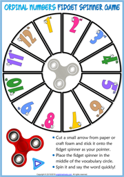 Ordinal Numbers ESL Printable Fidget Spinner Game
