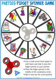 Parties Vocabulary ESL Printable Fidget Spinner Game