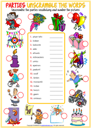 Parties Vocabulary ESL Printable Unscramble the Words Worksheet