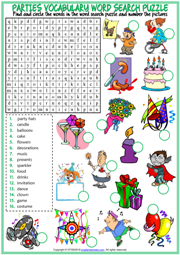 Parties Vocabulary ESL Printable Word Search Puzzle Worksheet
