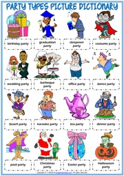 Party Types ESL Printable Picture Dictionary For Kids