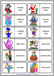 Party Types ESL Printable Dominoes Game For Kids