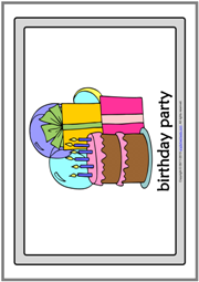 Party Types ESL Printable Flashcards With Words for Kids