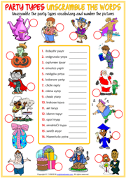 Party Types ESL Unscramble the Words Worksheet For Kids