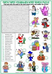 Party Types ESL Printable Word Search Puzzle Worksheet