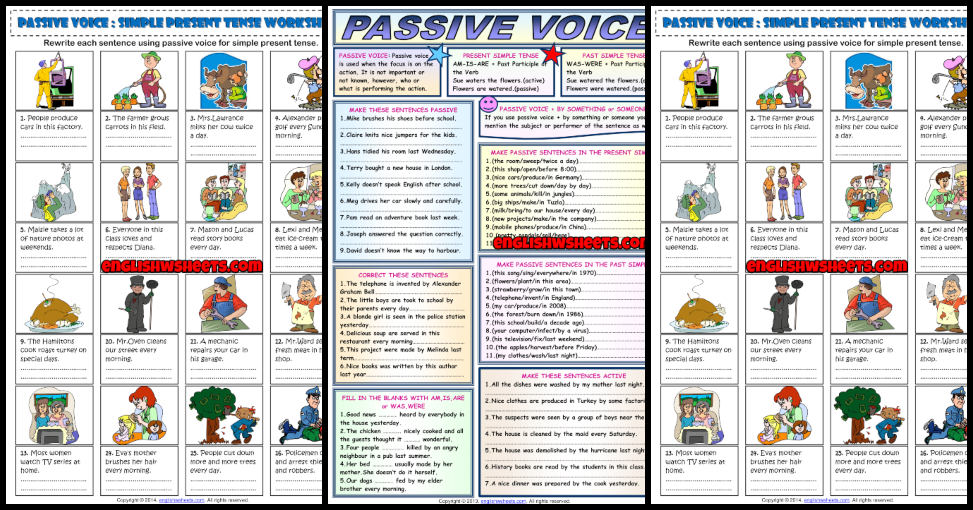 Passive Voice ESL Printable Worksheets And Exercises