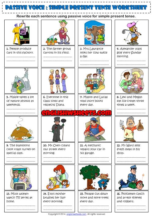 Passive Voice Simple Present Tense ESL Worksheet
