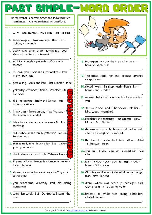 Past Simple Tense ESL Word Order Exercise Worksheet