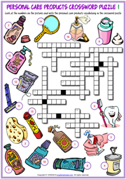 Personal Care Products ESL Crossword Puzzle Worksheets