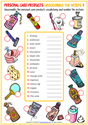 Personal Care Products Unscramble the Words Worksheets