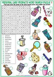 Personal Care Products ESL Word Search Puzzle Worksheets