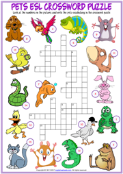 Pets ESL Printable Crossword Puzzle Worksheet for Kids