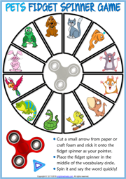 Pets ESL Printable Fidget Spinner Game For Kids