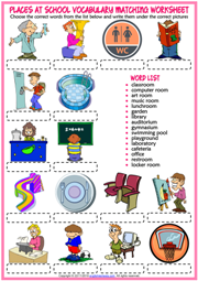 Places at School ESL Printable Matching Exercise Worksheet