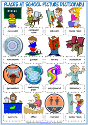 Places at School ESL Picture Dictionary Worksheet For Kids
