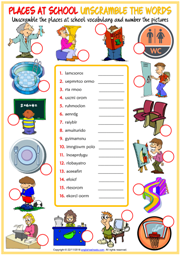 Places at School ESL Unscramble the Words Worksheet